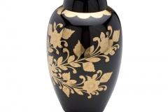 Brass Urn Black with Floral Design