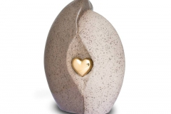 james-funeral-service-Ceramic-Urn-Natural-Stone-with-Gold-Heart-Motif