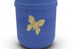 Biodegradable Urn Blue with Butterfly Motif