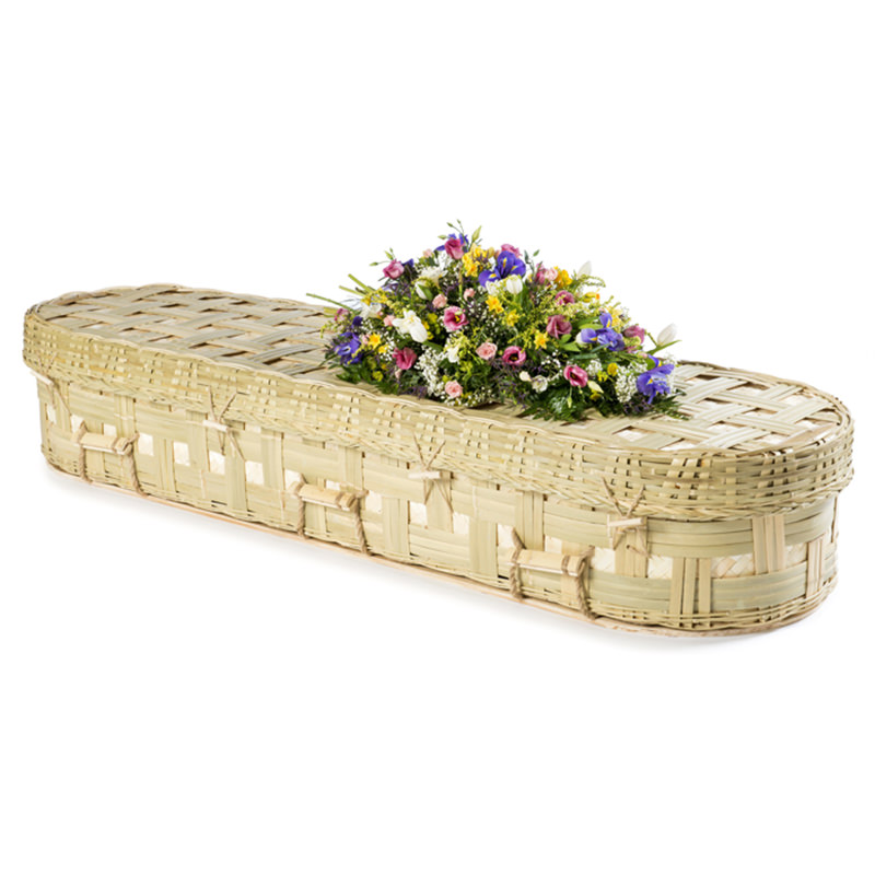 James Funeral Service Round Bamboo Coffin with Lattice