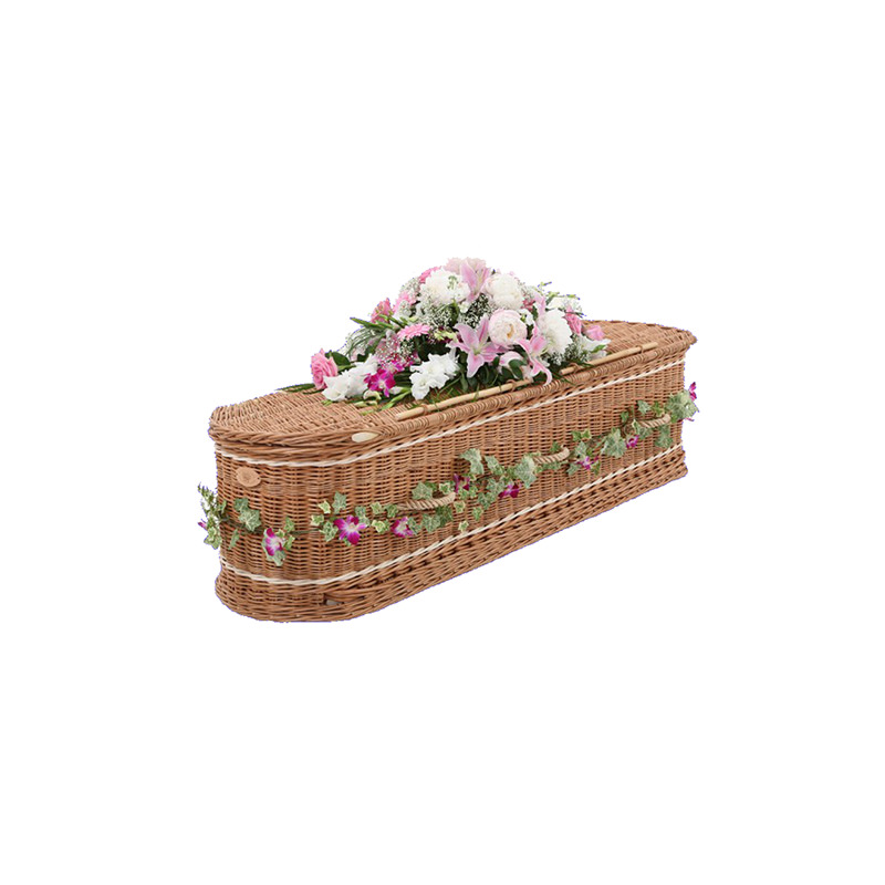 James Funeral Service Round Willow Casket with Cream Band
