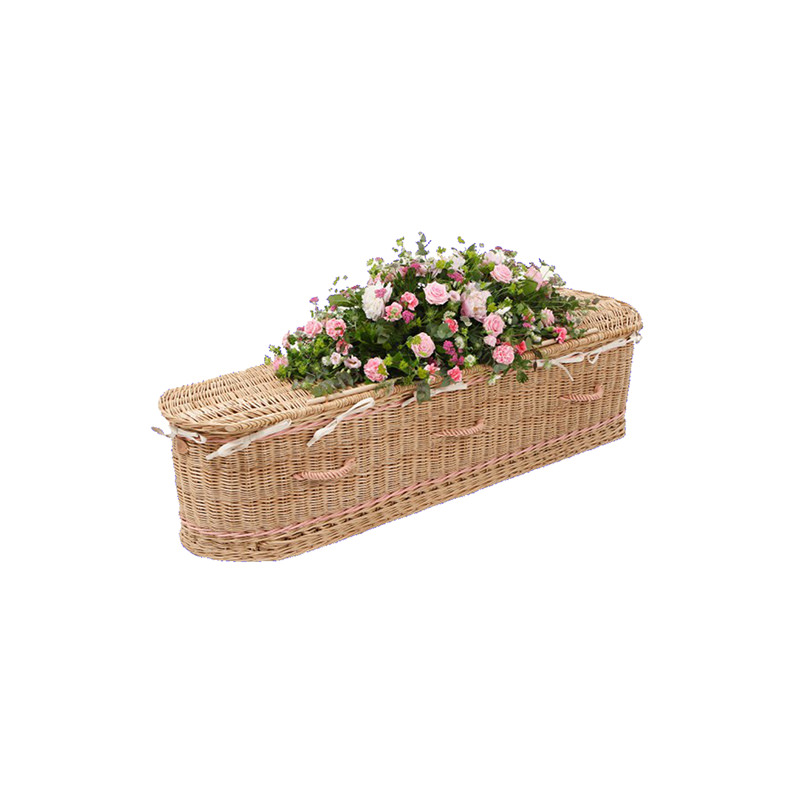 James Funeral Service Round Willow Casket with Pink Band