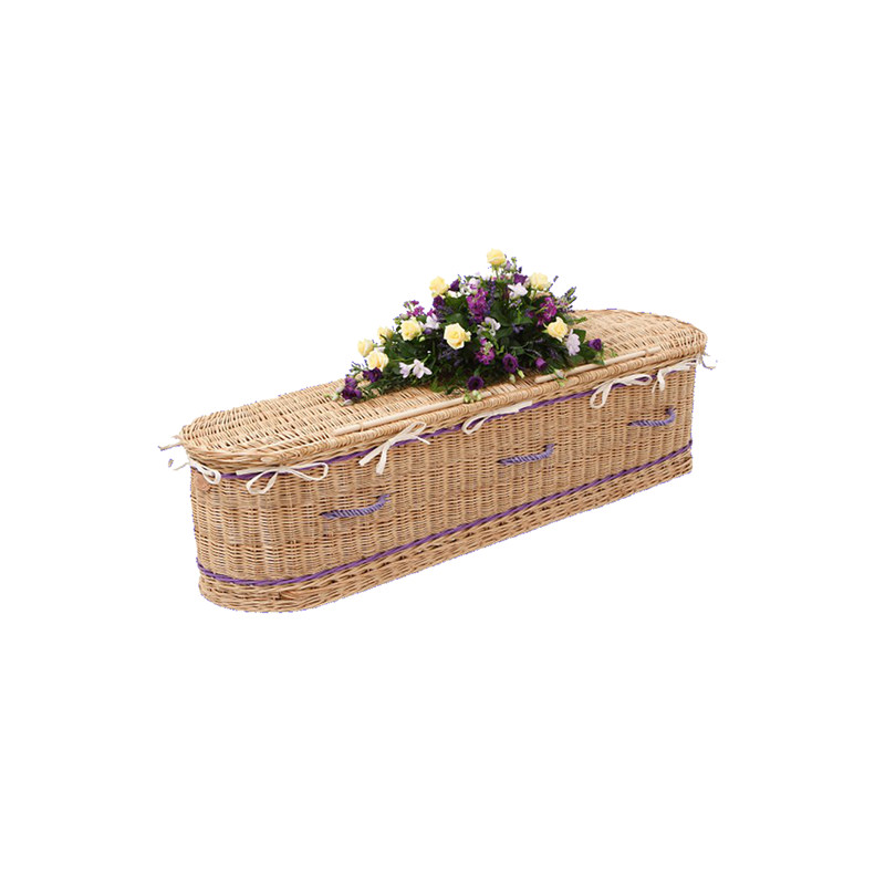 James Funeral Service Round Willow Coffin Purple Band