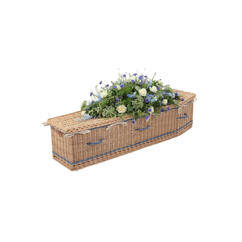 James Funeral Service Willow Coffin with Royal Blue Band