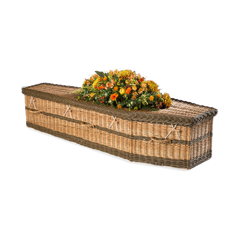 James Funeral Service English Willow Coffin - buff and brown