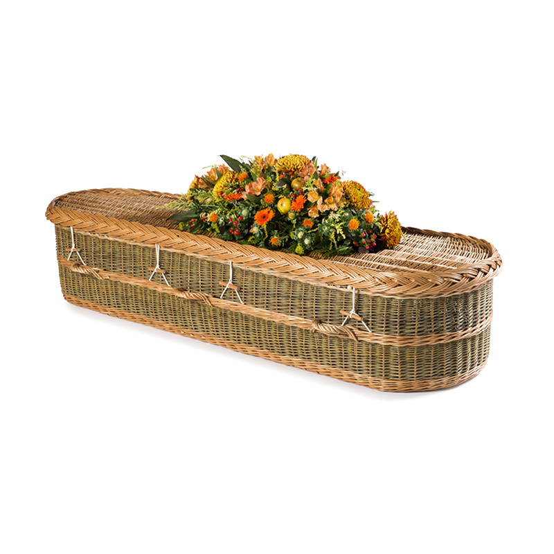 James Funeral Service Round English Willow Coffin with Green Colouring